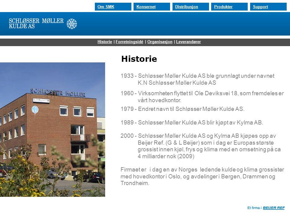 30.07.2015 Om SMKKonsernetDistribusjonProdukterSupport 1933 - Schløsser Møller Kulde AS ble grunnlagt under navnet K.N Schløsser Møller Kulde AS 1960 - Virksomheten flyttet til Ole Deviksvei 18, som fremdeles er vårt hovedkontor.