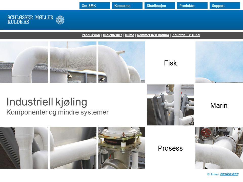 30.07.2015 Om SMKKonsernetDistribusjonProdukterSupport Industriell kjøling Komponenter og mindre systemer Fisk Prosess Marin ProduksjonProduksjon | Kj