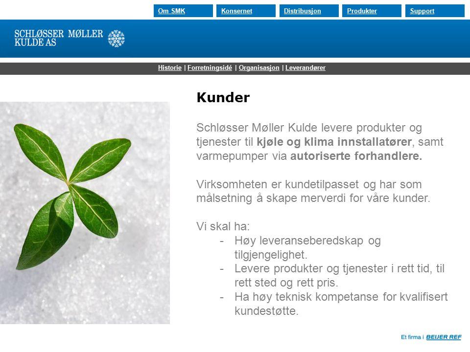30.07.2015 Om SMKKonsernetDistribusjonProdukterSupport Kunder Schløsser Møller Kulde levere produkter og tjenester til kjøle og klima innstallatører, samt varmepumper via autoriserte forhandlere.