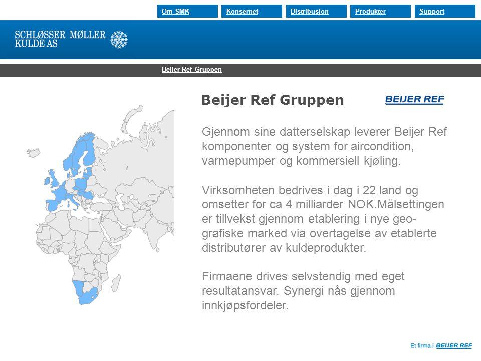 30.07.2015 Om SMKKonsernetDistribusjonProdukterSupport Beijer Ref Gruppen Gjennom sine datterselskap leverer Beijer Ref komponenter og system for aircondition, varmepumper og kommersiell kjøling.
