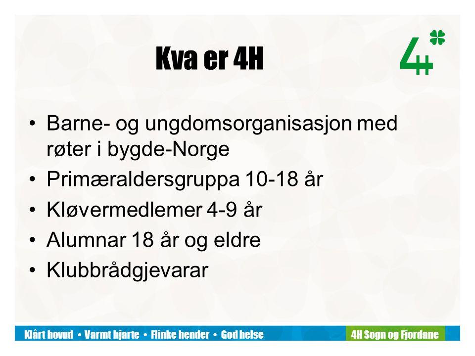 Klårt hovud Varmt hjarte Flinke hender God helse4H Sogn og Fjordane Kva er 4H Barne- og ungdomsorganisasjon med røter i bygde-Norge Primæraldersgruppa 10-18 år Kløvermedlemer 4-9 år Alumnar 18 år og eldre Klubbrådgjevarar