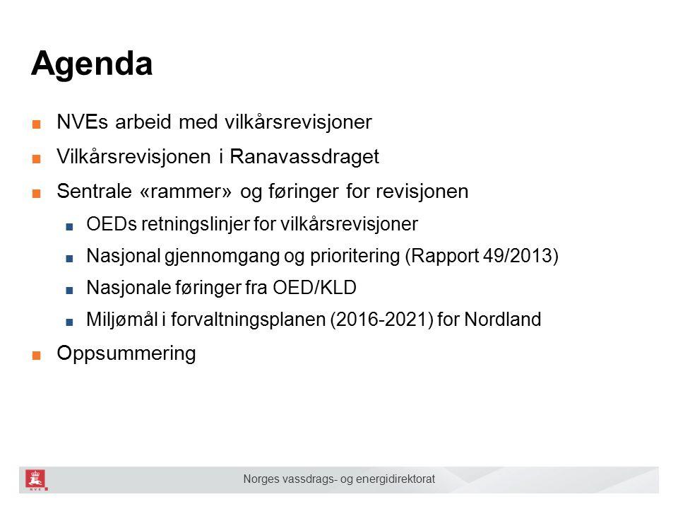 Norges vassdrags- og energidirektorat Agenda ■ NVEs arbeid med vilkårsrevisjoner ■ Vilkårsrevisjonen i Ranavassdraget ■ Sentrale «rammer» og føringer