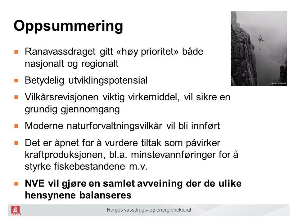Norges vassdrags- og energidirektorat Oppsummering ■ Ranavassdraget gitt «høy prioritet» både nasjonalt og regionalt ■ Betydelig utviklingspotensial ■