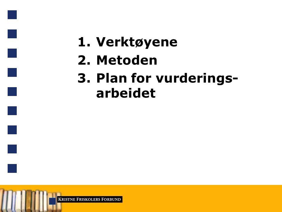 1.Verktøyene 2.Metoden 3.Plan for vurderings- arbeidet