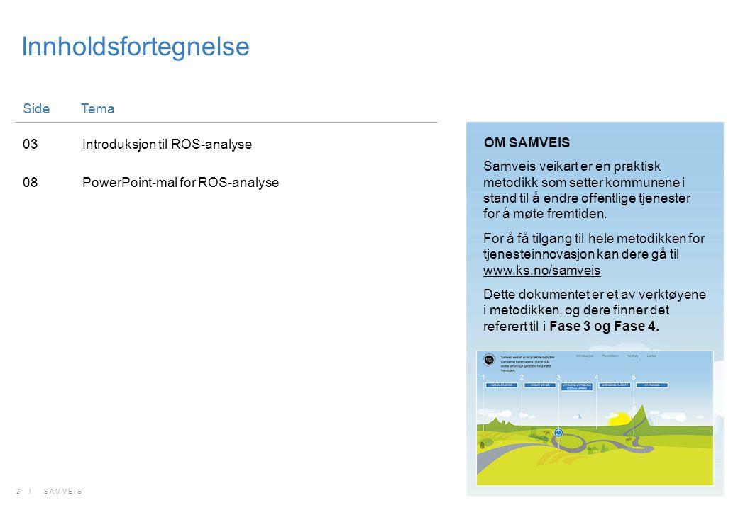 Innholdsfortegnelse SideTema 03Introduksjon til ROS-analyse 08PowerPoint-mal for ROS-analyse 2 I SAMVEIS Samveis veikart er en praktisk metodikk som s