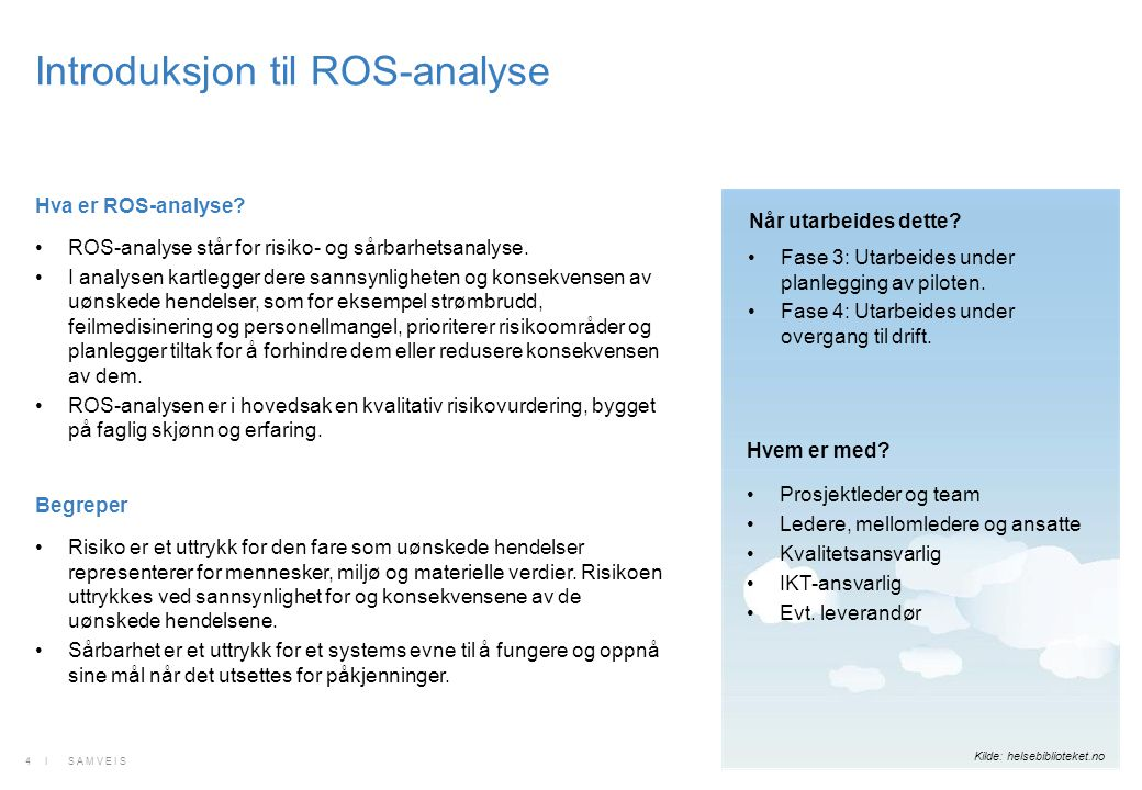 Hva er ROS-analyse? ROS-analyse står for risiko- og sårbarhetsanalyse. I analysen kartlegger dere sannsynligheten og konsekvensen av uønskede hendelse