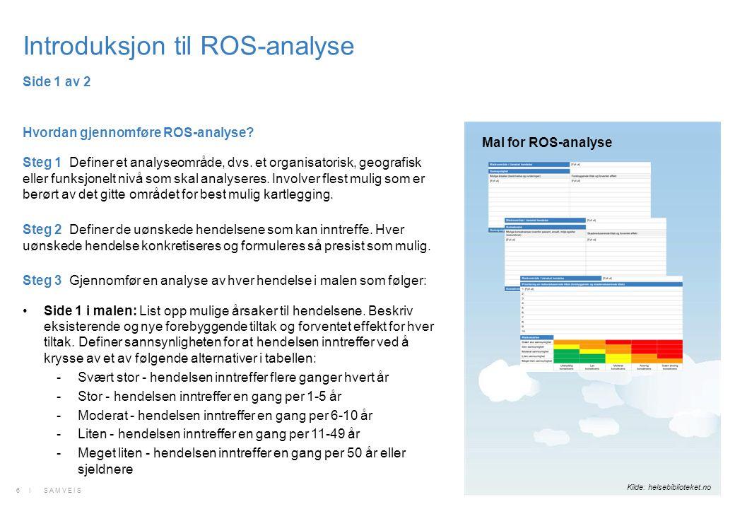 Introduksjon til ROS-analyse Hvordan gjennomføre ROS-analyse? Steg 1 Definer et analyseområde, dvs. et organisatorisk, geografisk eller funksjonelt ni