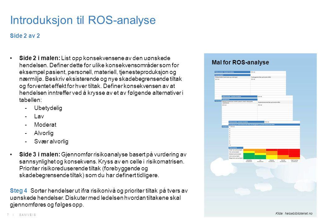 Introduksjon til ROS-analyse Side 2 i malen: List opp konsekvensene av den uønskede hendelsen. Definer dette for ulike konsekvensområder som for eksem