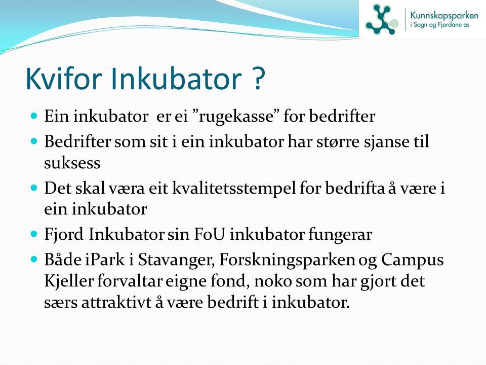 """Kvifor Inkubator ? Ein inkubator er ei """"rugekasse"""" for bedrifter Bedrifter som sit i ein inkubator har større sjanse til suksess Det skal væra eit kva"""