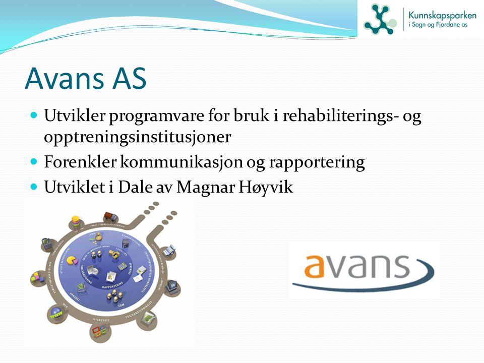Avans AS Utvikler programvare for bruk i rehabiliterings- og opptreningsinstitusjoner Forenkler kommunikasjon og rapportering Utviklet i Dale av Magna