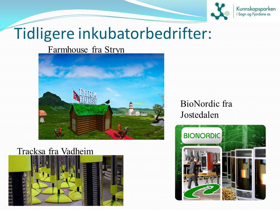 Tidligere inkubatorbedrifter: BioNordic fra Jostedalen Farmhouse fra Stryn Tracksa fra Vadheim