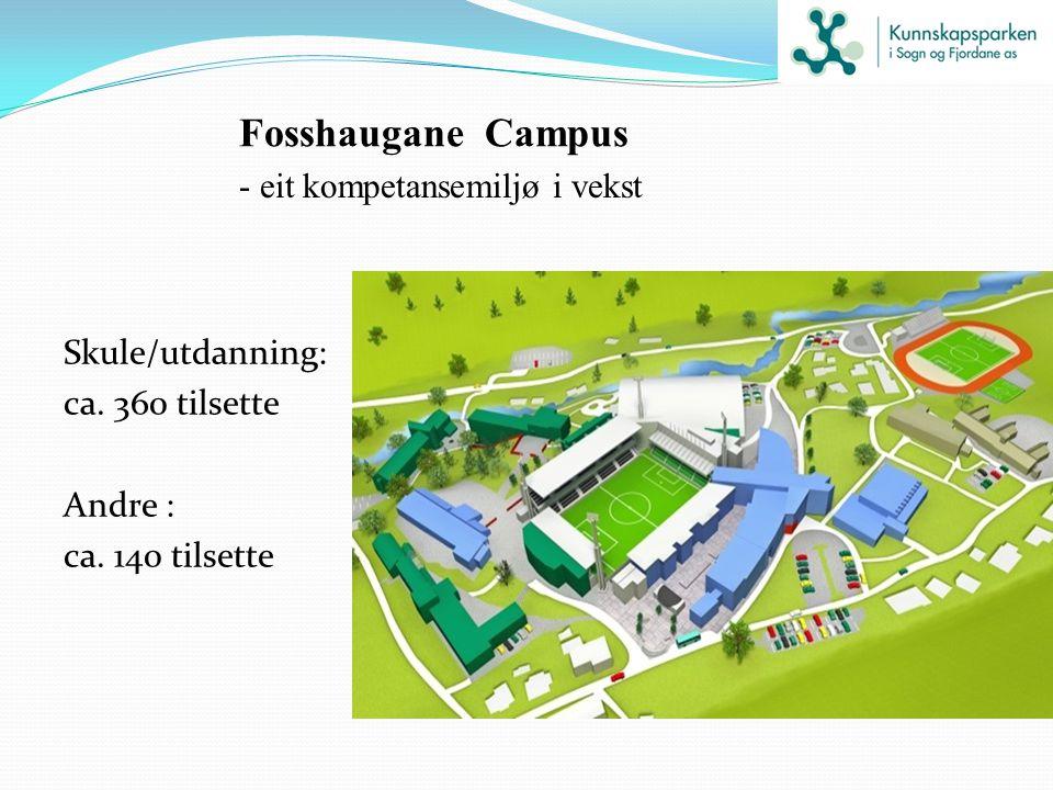 Fosshaugane Campus - eit kompetansemiljø i vekst Skule/utdanning: ca. 360 tilsette Andre : ca. 140 tilsette
