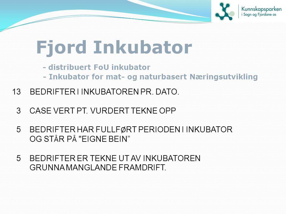 Fjord Inkubator - distribuert FoU inkubator - Inkubator for mat- og naturbasert Næringsutvikling 13 BEDRIFTER I INKUBATOREN PR. DATO. 3 CASE VERT PT.