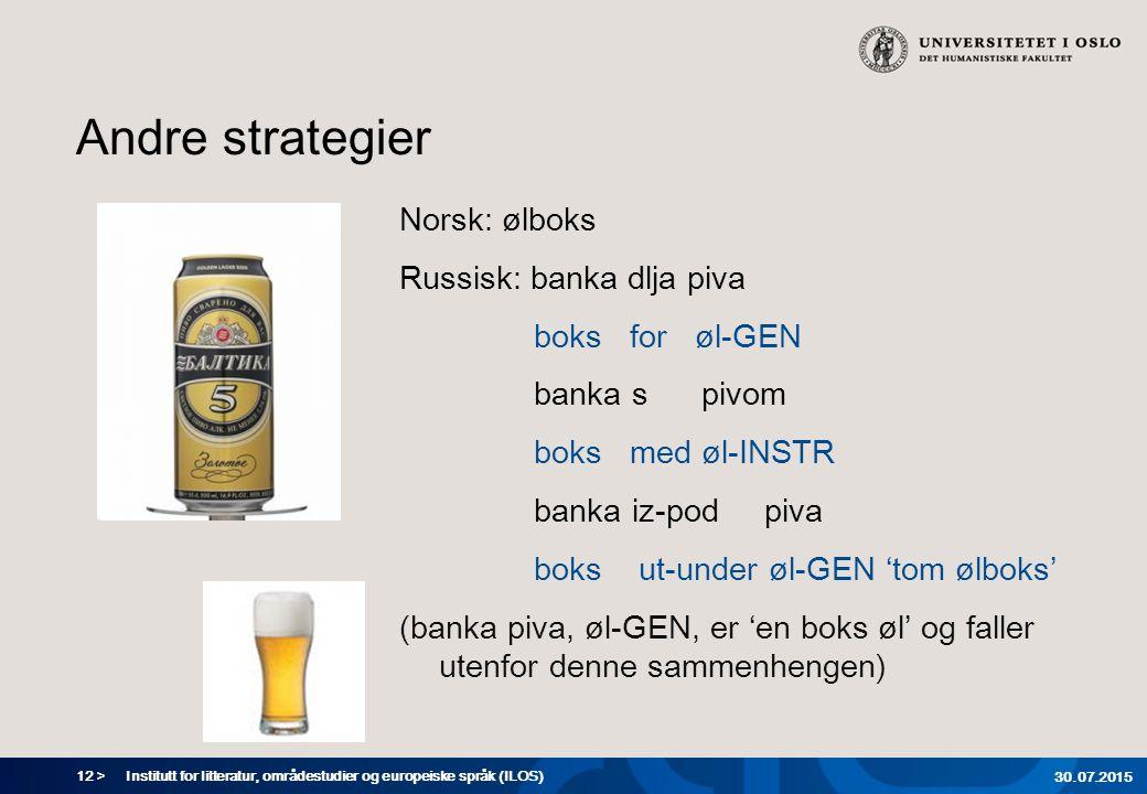 12 > Andre strategier Norsk: ølboks Russisk: banka dlja piva boks for øl-GEN banka s pivom boks med øl-INSTR banka iz-pod piva boks ut-under øl-GEN 't