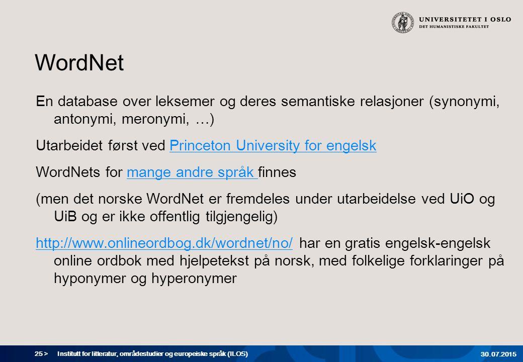 25 > WordNet En database over leksemer og deres semantiske relasjoner (synonymi, antonymi, meronymi, …) Utarbeidet først ved Princeton University for
