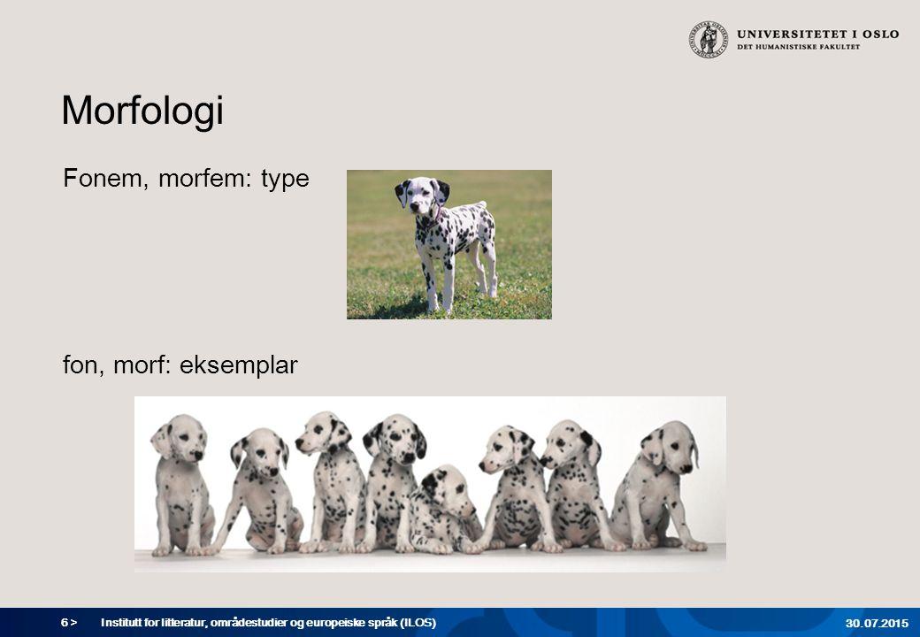 6 > Morfologi Fonem, morfem: type fon, morf: eksemplar Institutt for litteratur, områdestudier og europeiske språk (ILOS) 30.07.2015