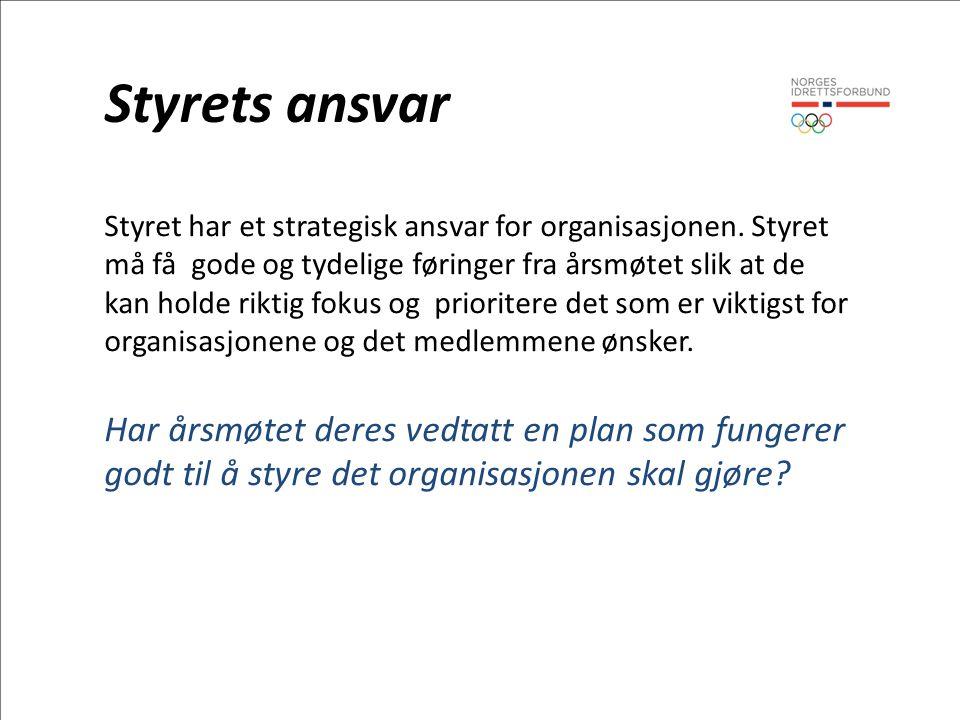 Styrets ansvar Styret har et strategisk ansvar for organisasjonen.