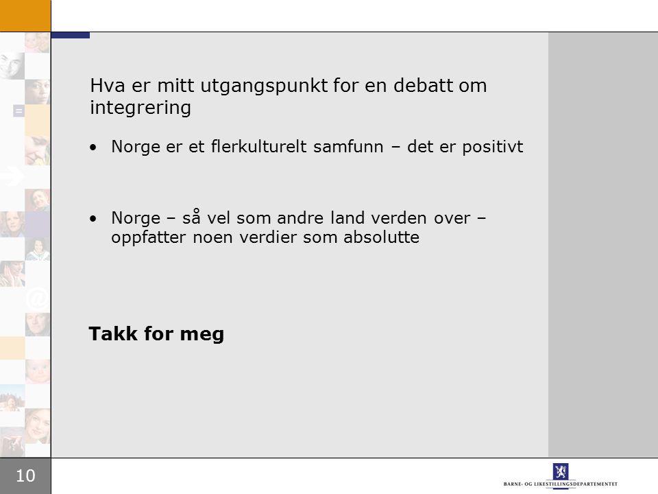 10 Hva er mitt utgangspunkt for en debatt om integrering Norge er et flerkulturelt samfunn – det er positivt Norge – så vel som andre land verden over