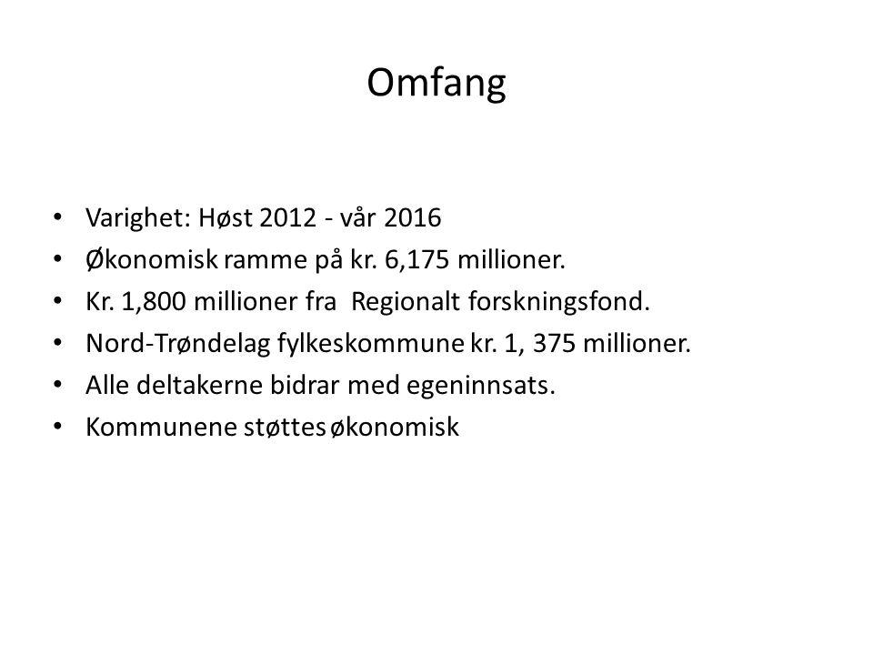 Omfang Varighet: Høst 2012 - vår 2016 Økonomisk ramme på kr. 6,175 millioner. Kr. 1,800 millioner fra Regionalt forskningsfond. Nord-Trøndelag fylkesk