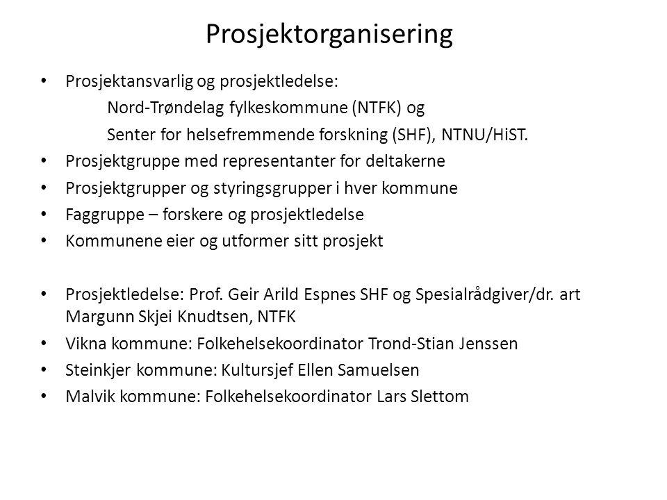 Prosjektorganisering Prosjektansvarlig og prosjektledelse: Nord-Trøndelag fylkeskommune (NTFK) og Senter for helsefremmende forskning (SHF), NTNU/HiST.