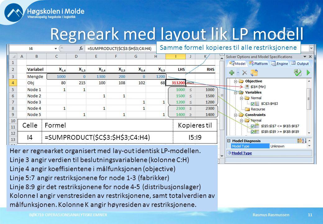 BØK710 OPERASJONSANALYTISKE EMNER11 Regneark med layout lik LP modell Samme formel kopieres til alle restriksjonene Her er regnearket organisert med l