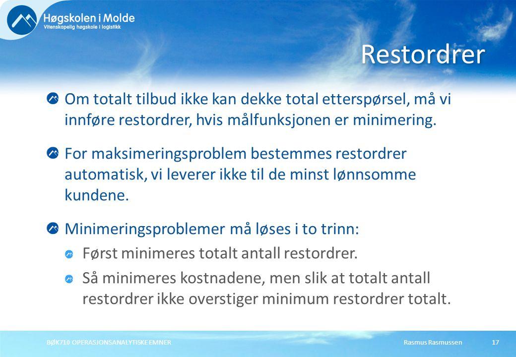 Rasmus RasmussenBØK710 OPERASJONSANALYTISKE EMNER17 Om totalt tilbud ikke kan dekke total etterspørsel, må vi innføre restordrer, hvis målfunksjonen e