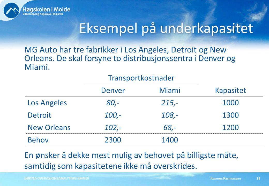 Rasmus RasmussenBØK710 OPERASJONSANALYTISKE EMNER18 MG Auto har tre fabrikker i Los Angeles, Detroit og New Orleans. De skal forsyne to distribusjonss