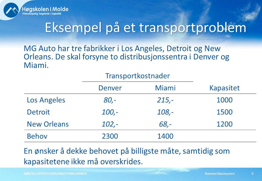 Rasmus RasmussenBØK710 OPERASJONSANALYTISKE EMNER56 Modell for ubalansert tilordning Minimere totale tilordningskostnader for alle hjelpemiddel og oppdrag.