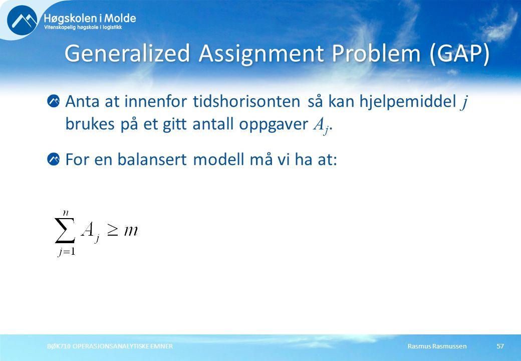 Rasmus RasmussenBØK710 OPERASJONSANALYTISKE EMNER57 Anta at innenfor tidshorisonten så kan hjelpemiddel j brukes på et gitt antall oppgaver A j. For e