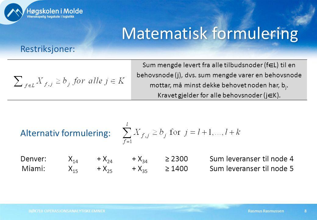 BØK710 OPERASJONSANALYTISKE EMNER9 Matematisk formulering Restriksjoner: Sum leveranser fra en tilbudsnode (i) til alle behovsnoder (t  K) kan ikke overstige tilbudsnodens kapasitet.