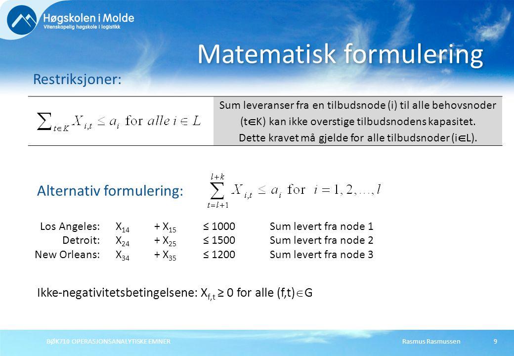 BØK710 OPERASJONSANALYTISKE EMNER9 Matematisk formulering Restriksjoner: Sum leveranser fra en tilbudsnode (i) til alle behovsnoder (t  K) kan ikke o
