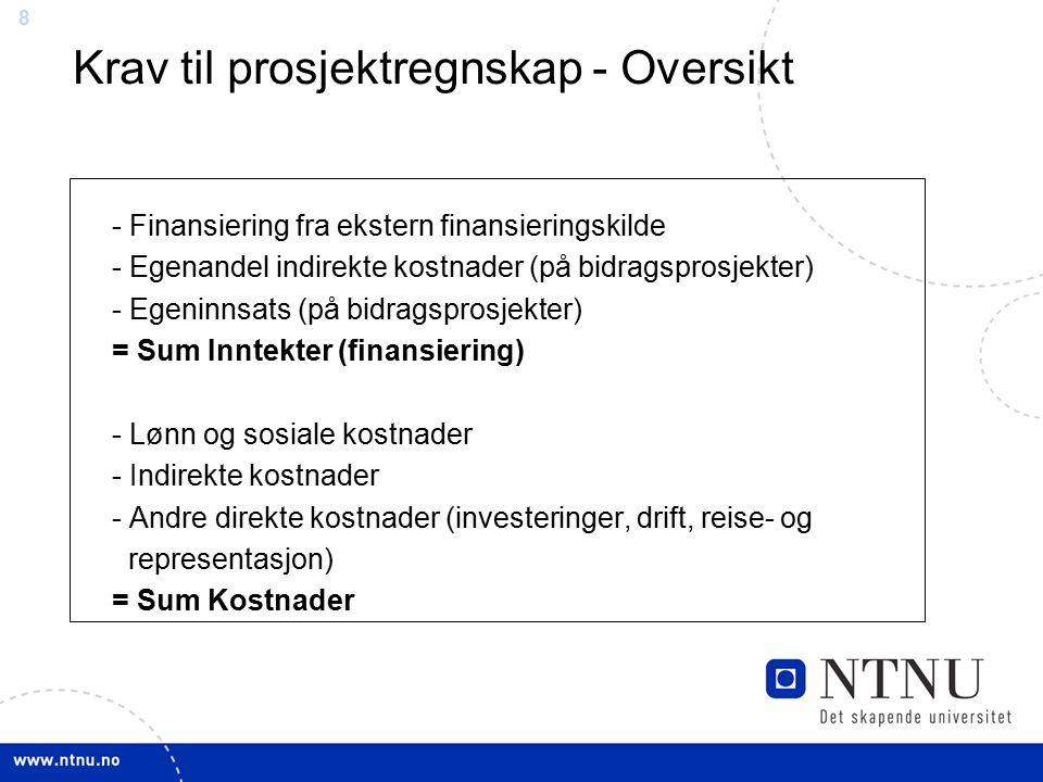88 - Finansiering fra ekstern finansieringskilde - Egenandel indirekte kostnader (på bidragsprosjekter) - Egeninnsats (på bidragsprosjekter) = Sum Inntekter (finansiering) - Lønn og sosiale kostnader - Indirekte kostnader - Andre direkte kostnader (investeringer, drift, reise- og representasjon) = Sum Kostnader Krav til prosjektregnskap - Oversikt