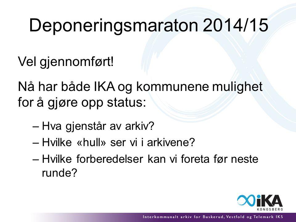 Deponeringsmaraton 2014/15 Vel gjennomført.