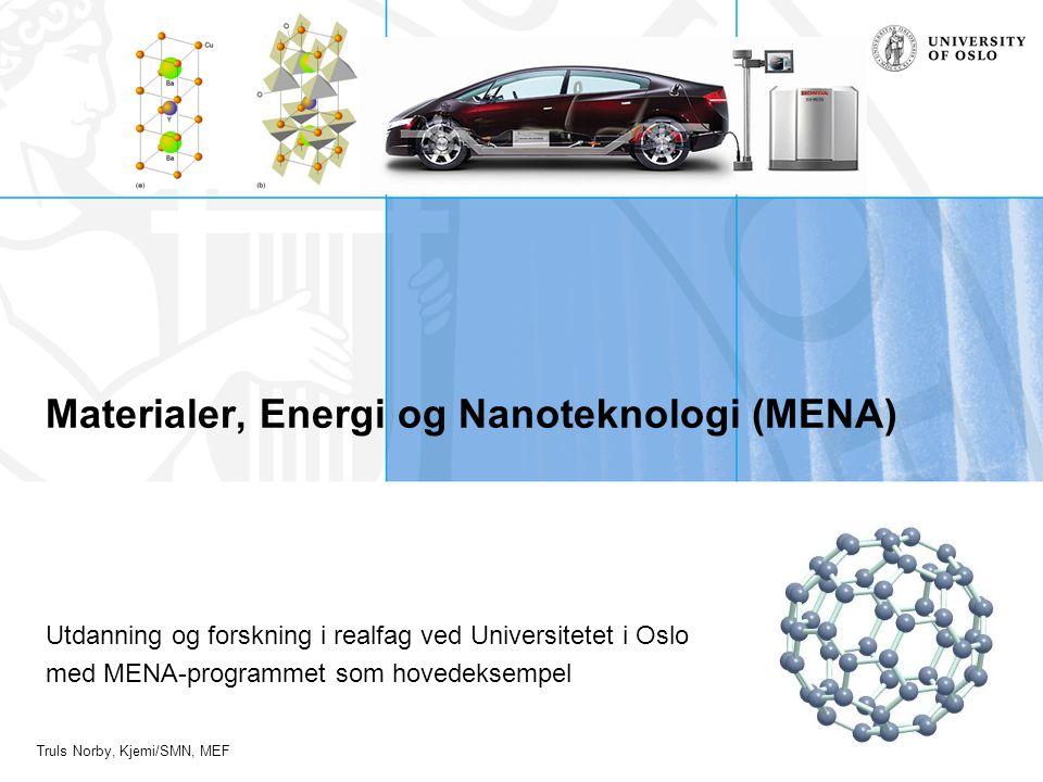 Truls Norby, Kjemi/SMN, MEF Materialer, Energi og Nanoteknologi (MENA) Utdanning og forskning i realfag ved Universitetet i Oslo med MENA-programmet s