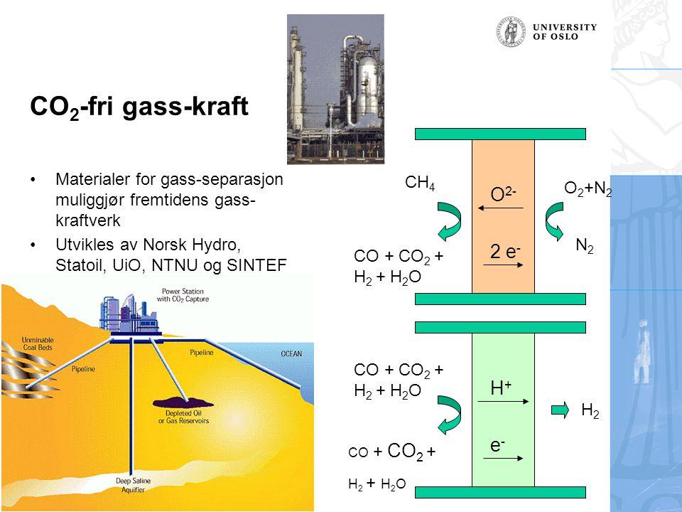 CO 2 -fri gass-kraft Materialer for gass-separasjon muliggjør fremtidens gass- kraftverk Utvikles av Norsk Hydro, Statoil, UiO, NTNU og SINTEF O 2- 2