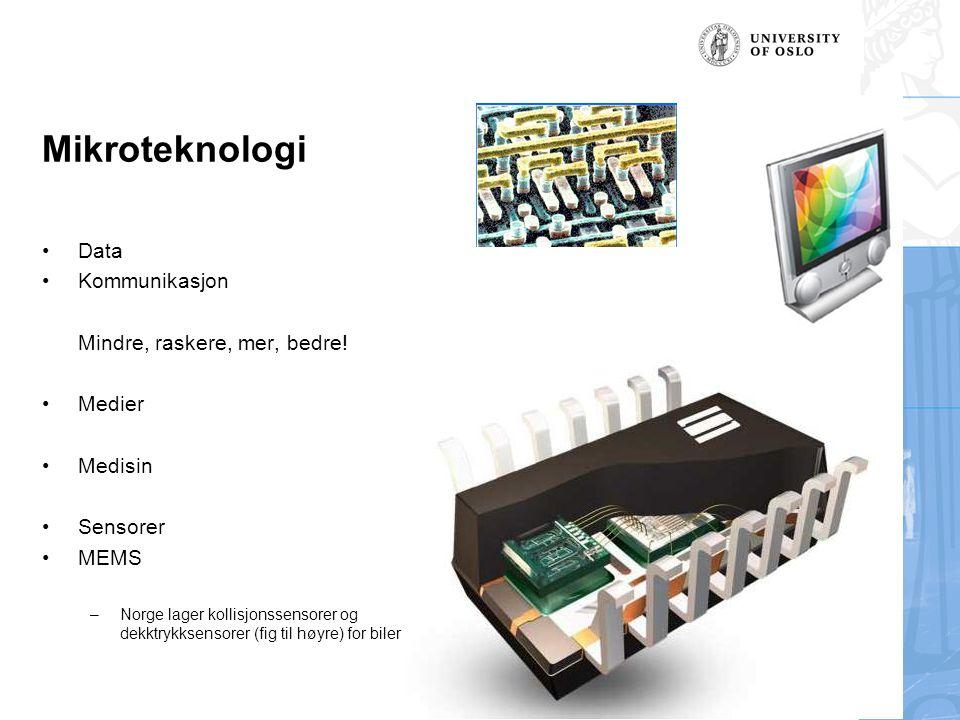 Mikroteknologi Data Kommunikasjon Mindre, raskere, mer, bedre! Medier Medisin Sensorer MEMS –Norge lager kollisjonssensorer og dekktrykksensorer (fig