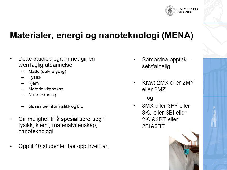 Materialer, energi og nanoteknologi (MENA) Dette studieprogrammet gir en tverrfaglig utdannelse –Matte (selvfølgelig) –Fysikk –Kjemi –Materialvitenska