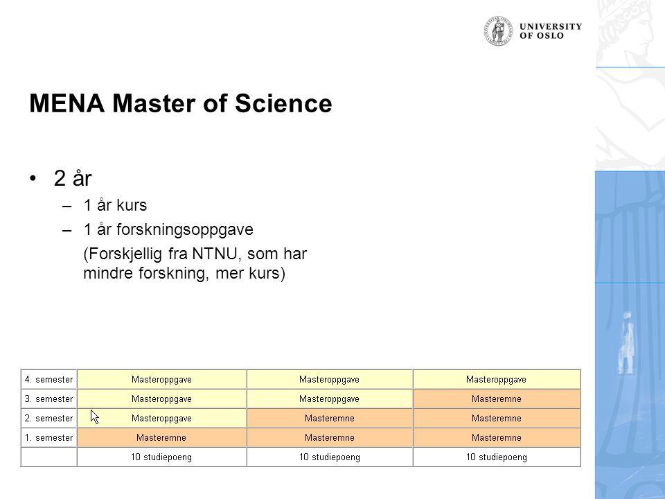 MENA Master of Science 2 år –1 år kurs –1 år forskningsoppgave (Forskjellig fra NTNU, som har mindre forskning, mer kurs)
