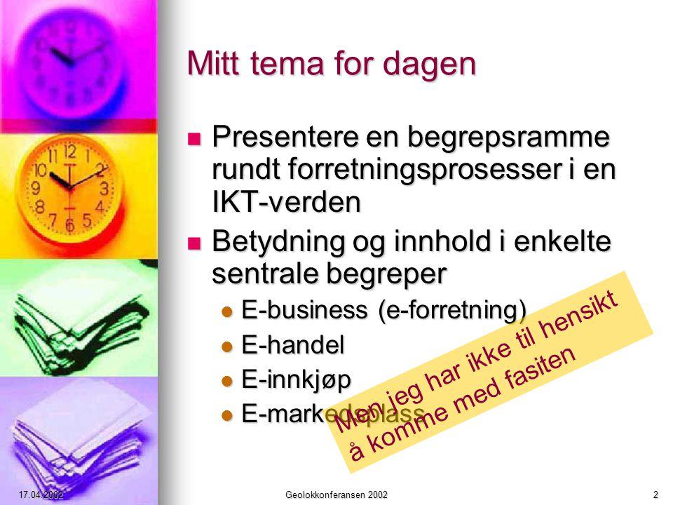 17.04.2002Geolokkonferansen 20022 Mitt tema for dagen Presentere en begrepsramme rundt forretningsprosesser i en IKT-verden Presentere en begrepsramme rundt forretningsprosesser i en IKT-verden Betydning og innhold i enkelte sentrale begreper Betydning og innhold i enkelte sentrale begreper E-business (e-forretning) E-business (e-forretning) E-handel E-handel E-innkjøp E-innkjøp E-markedsplass E-markedsplass Men jeg har ikke til hensikt å komme med fasiten