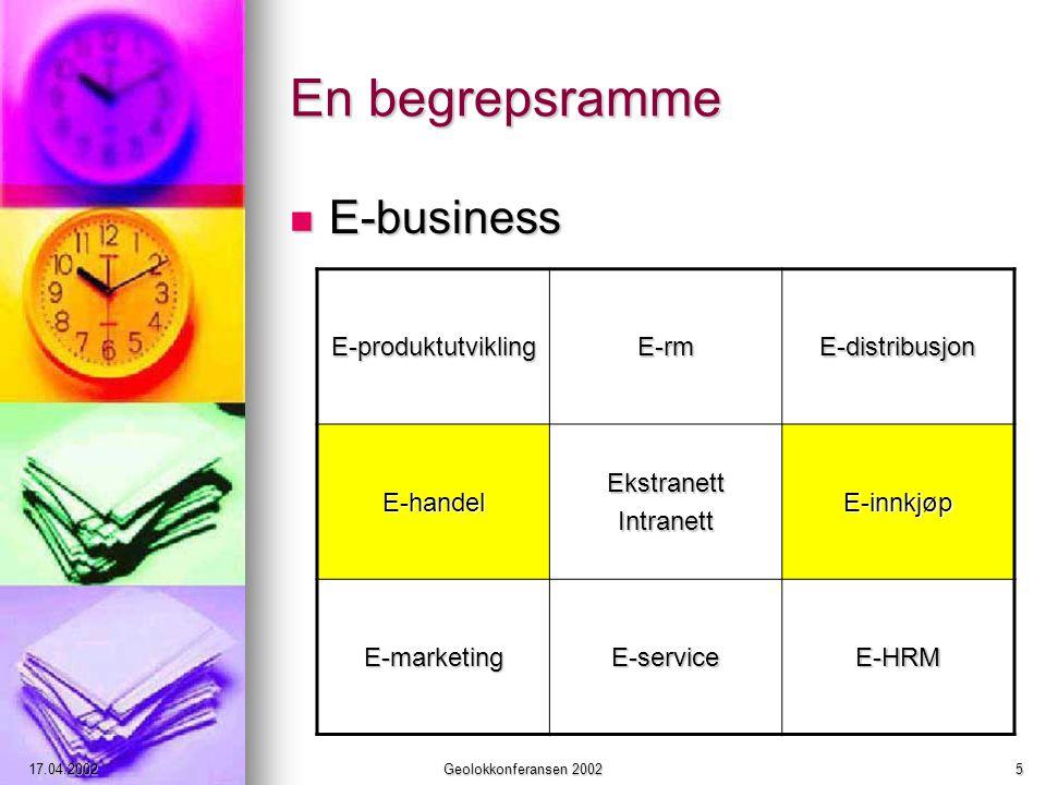 17.04.2002Geolokkonferansen 20025 En begrepsramme E-business E-business E-produktutviklingE-rmE-distribusjon E-handelEkstranettIntranettE-innkjøp E-marketingE-serviceE-HRM