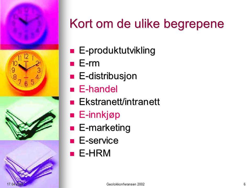17.04.2002Geolokkonferansen 20026 Kort om de ulike begrepene E-produktutvikling E-produktutvikling E-rm E-rm E-distribusjon E-distribusjon E-handel E-handel Ekstranett/intranett Ekstranett/intranett E-innkjøp E-innkjøp E-marketing E-marketing E-service E-service E-HRM E-HRM