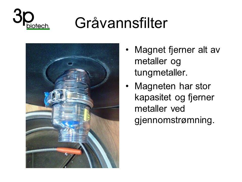 Gråvannsfilter Magnet fjerner alt av metaller og tungmetaller. Magneten har stor kapasitet og fjerner metaller ved gjennomstrømning.