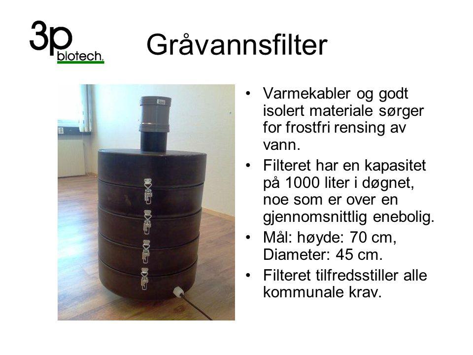 Gråvannsfilter Varmekabler og godt isolert materiale sørger for frostfri rensing av vann. Filteret har en kapasitet på 1000 liter i døgnet, noe som er