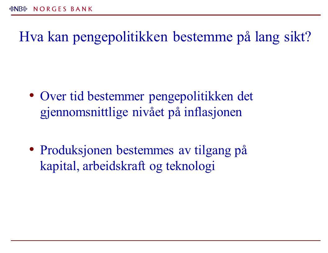 Hva kan pengepolitikken bestemme på lang sikt? Over tid bestemmer pengepolitikken det gjennomsnittlige nivået på inflasjonen Produksjonen bestemmes av