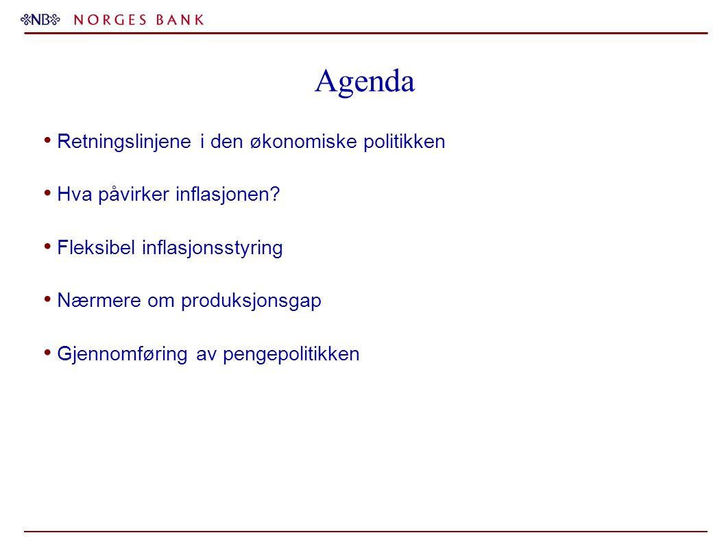 Agenda Retningslinjene i den økonomiske politikken Hva påvirker inflasjonen? Fleksibel inflasjonsstyring Nærmere om produksjonsgap Gjennomføring av pe