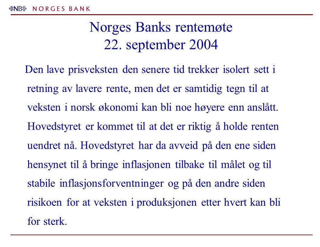 Norges Banks rentemøte 22. september 2004 Den lave prisveksten den senere tid trekker isolert sett i retning av lavere rente, men det er samtidig tegn