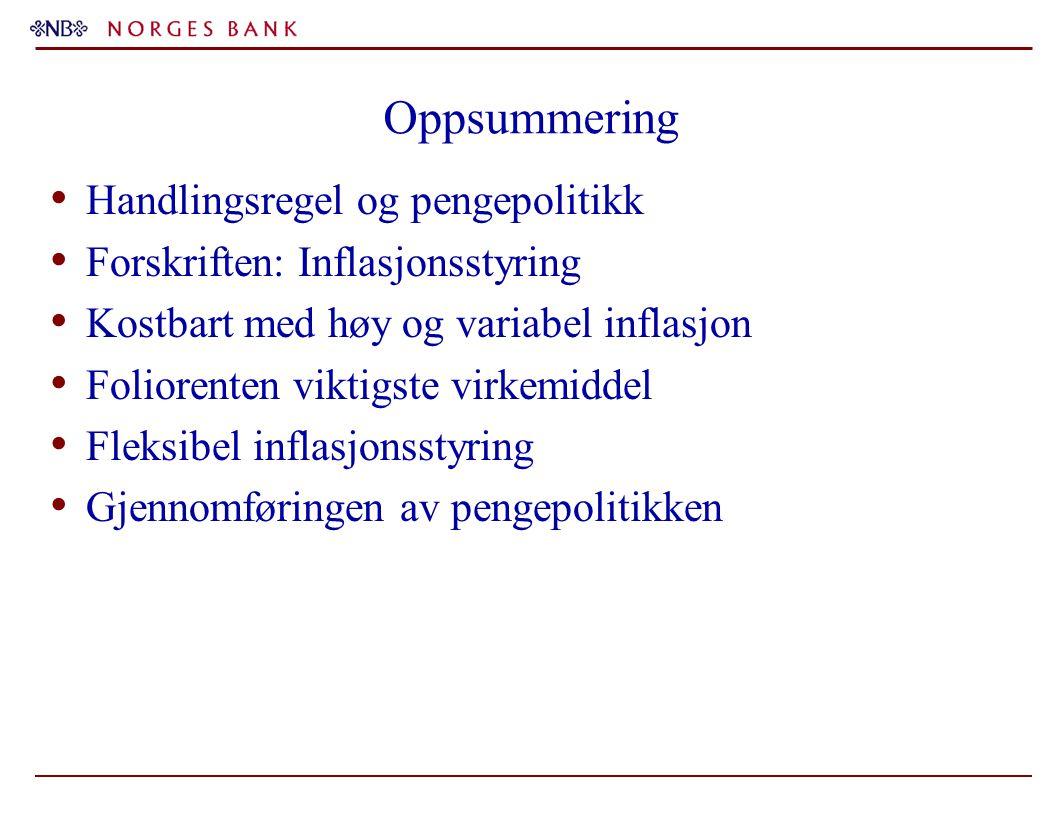 Oppsummering Handlingsregel og pengepolitikk Forskriften: Inflasjonsstyring Kostbart med høy og variabel inflasjon Foliorenten viktigste virkemiddel F