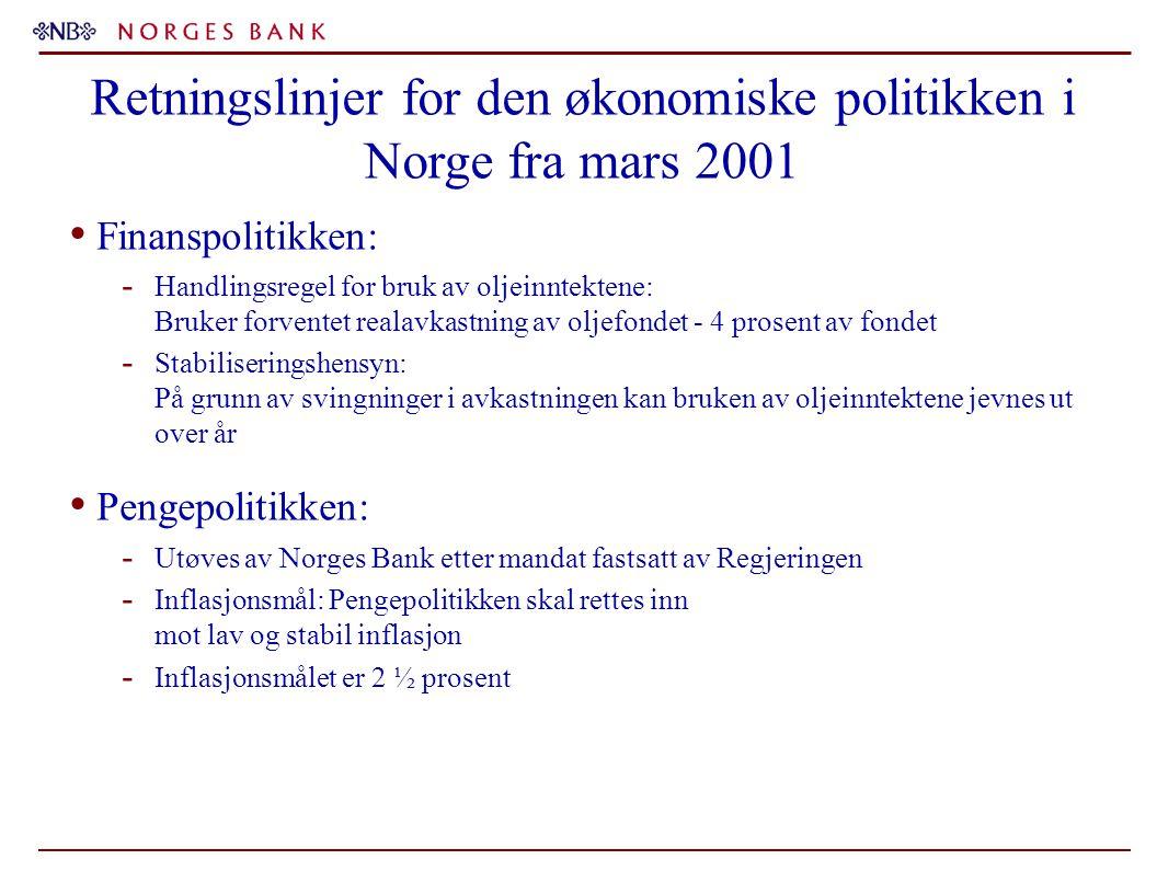 Retningslinjer for den økonomiske politikken i Norge fra mars 2001 Finanspolitikken: - Handlingsregel for bruk av oljeinntektene: Bruker forventet realavkastning av oljefondet - 4 prosent av fondet - Stabiliseringshensyn: På grunn av svingninger i avkastningen kan bruken av oljeinntektene jevnes ut over år Pengepolitikken: - Utøves av Norges Bank etter mandat fastsatt av Regjeringen - Inflasjonsmål: Pengepolitikken skal rettes inn mot lav og stabil inflasjon - Inflasjonsmålet er 2 ½ prosent