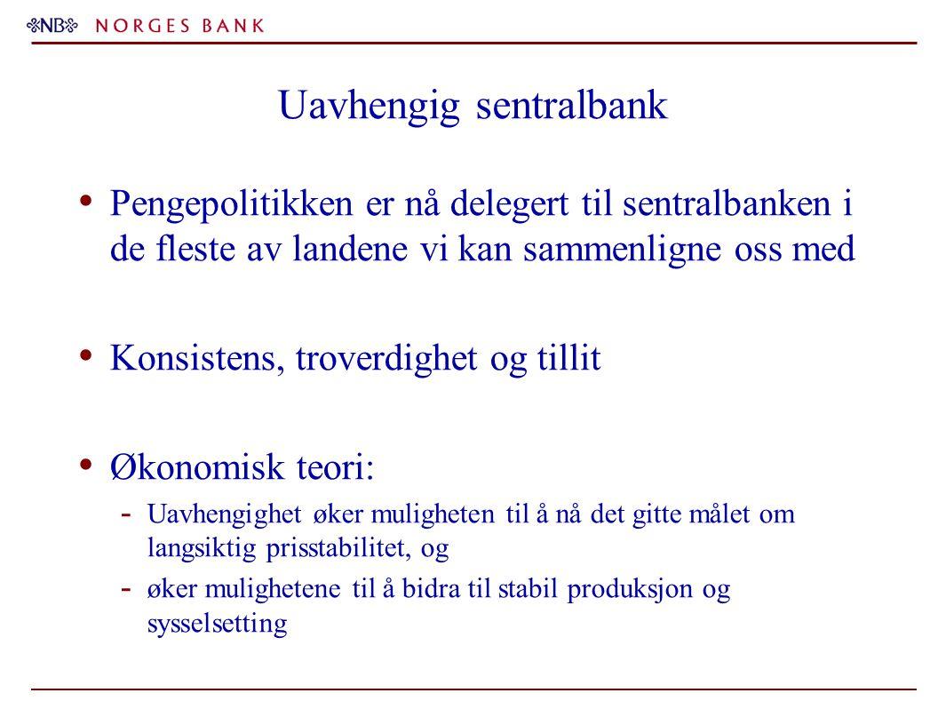 Uavhengig sentralbank Pengepolitikken er nå delegert til sentralbanken i de fleste av landene vi kan sammenligne oss med Konsistens, troverdighet og t