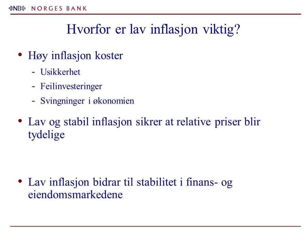 Hvorfor er lav inflasjon viktig? Høy inflasjon koster - Usikkerhet - Feilinvesteringer - Svingninger i økonomien Lav og stabil inflasjon sikrer at rel